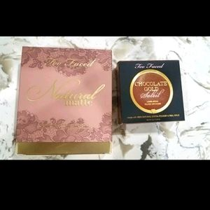 Too Faced natural matte eyeshadow and bronzer.